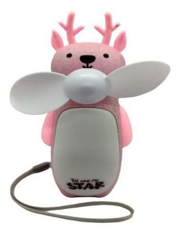 Imagem de Mini Ventilador Portátil Luminária Urso Recarregável Rosa