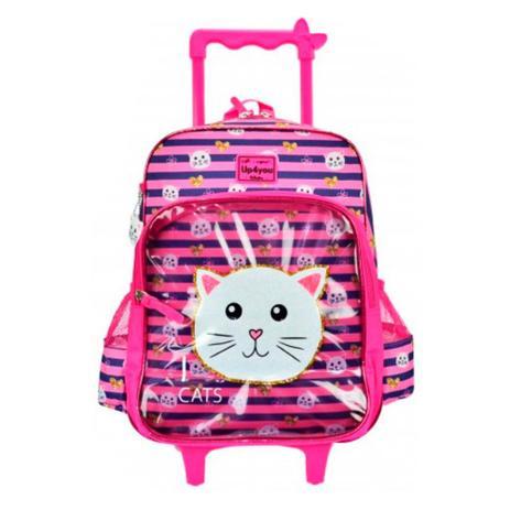 312332cb0 Mochila de Rodinhas Up4You Cute Gatinho Pink - Luxcel - Mochilas ...