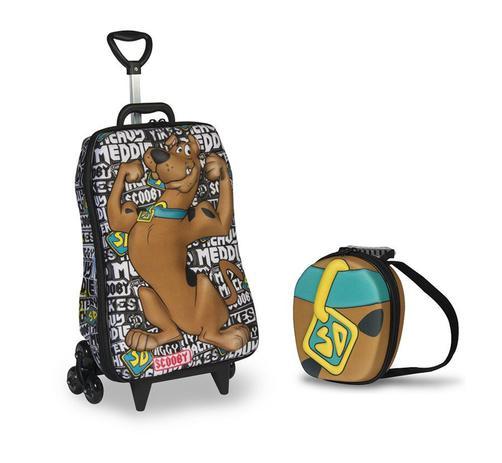 Imagem de Mochila Escolar 3D com Rodinhas e Lancheira MaxToy Scooby doo