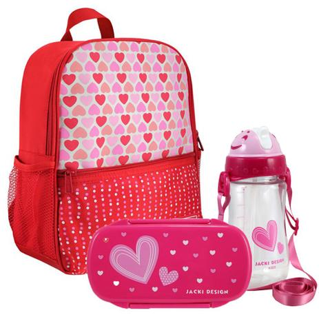 cdad08aa3 Mochila Escolar Infantil Feminina + Marmita + Squeeze - Jacki Design ...
