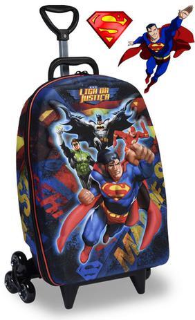 c1c2fa200 Mochila Escolar Menino Carrinho Rodinha Infantil Liga Da Justiça Superman  Maxtoy