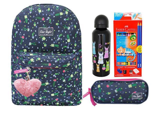 20b99ffc1 Mochila Feminina Escolar Cactos Juvenil + Kit Faber Castell - Clio style
