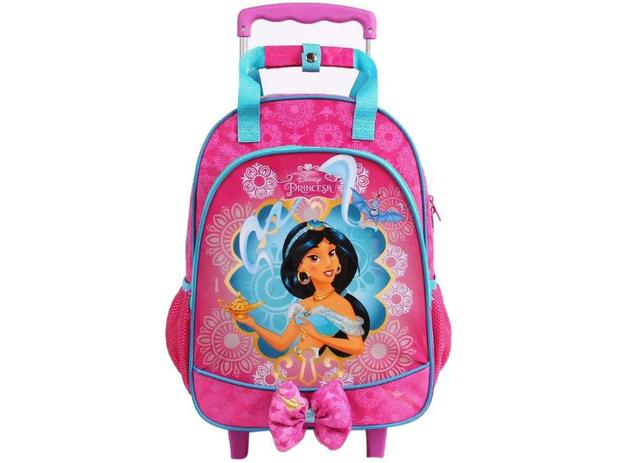 71066aa87 Mochila Infantil Escolar Feminina Tam. G Rodinhas - Dermiwil Max Disney  Princesa Jasmine Aladdin Rosa