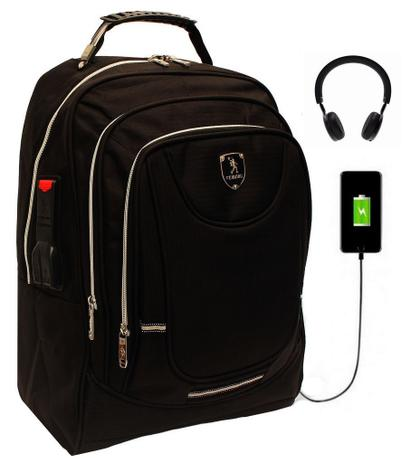 ec0f1e7b5 Mochila Social Executiva USB Fone Preta Impermeável Notebook - Maideng