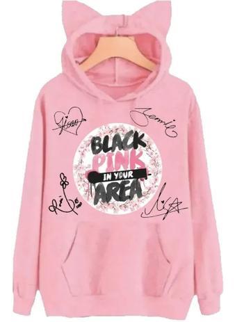 Imagem de Moletom Canguru Orelhinha Black Pink Feminino Rosa (P)