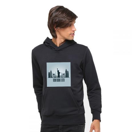 """3628cbe30 Moletom Capuz Bolso Canguru Preto Estampado """"New York City """" - Clik da moda"""