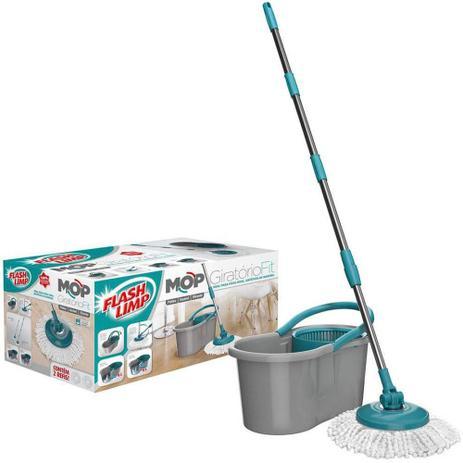 Imagem de Mop Flash Limp  Esfregão Giratório e Extensível  Cabo Inox Premium c/ Refil Microfibra e Balde
