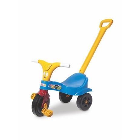 Imagem de Motoca infantil com empurrador com haste triciclo azul