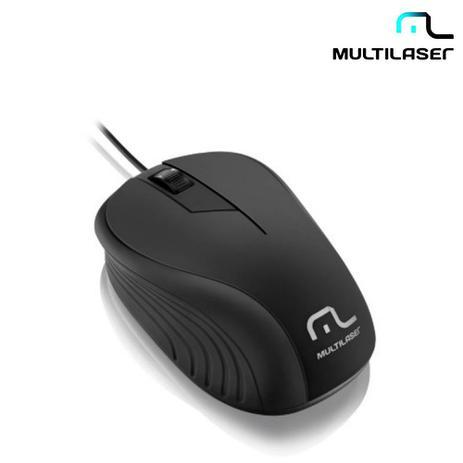 Imagem de Mouse Com Fio USB Emborrachado Preto MO222  Multilaser