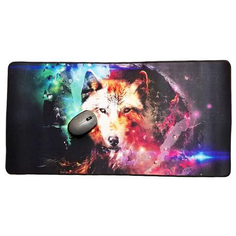 Imagem de Mouse Pad Gamer Extra Grande 700x350x3mm Base Antiderrapante Bordas Costuradas Lobo Exbom MP-7035C