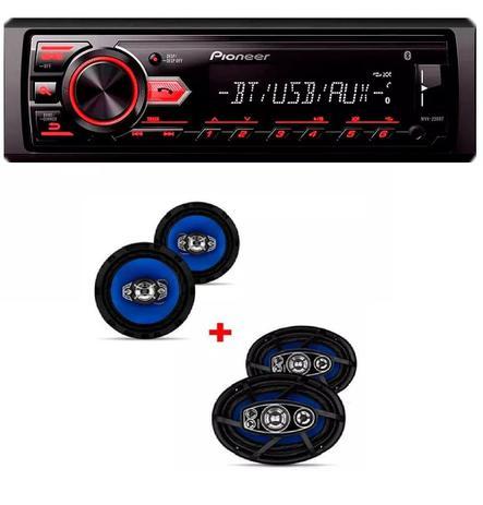 Imagem de Mp3 Player Pioneer Mvh-298bt Usb Bluetooth e Kit 2 Auto Falantes  6x9 E 2 6 Polegadas Orion
