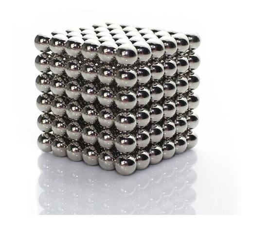 Imagem de Neocube Cubo Magnético 216 Esferas Prateado Imã Neodímio 3mm
