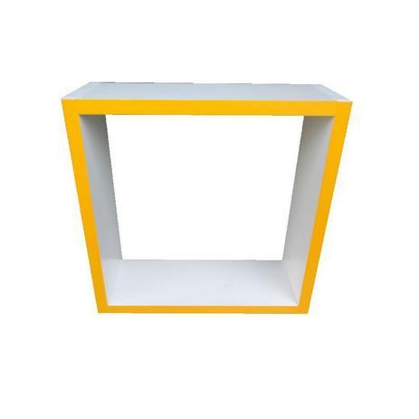 Imagem de Nicho Cubo Prateleira Com Borda Amarelo Para Decoração 29x29x10