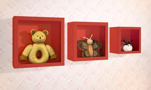 f1bcf011a Nicho Decorativo Quarto Bebê Larile Quadrado Vermelho-Kit com 3 peças