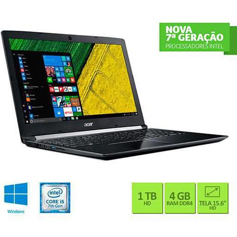 "0f698a172 Notebook Acer A515-51-55QD Intel Core I5 4GB 1TB Tela LED 15.6"" Windows 10  - Preto"