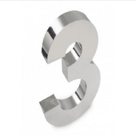 Imagem de Número 3 de Aço Inox 3d Caixa Alta Polido Brilhante Espelhado 20 cm - Número de casa