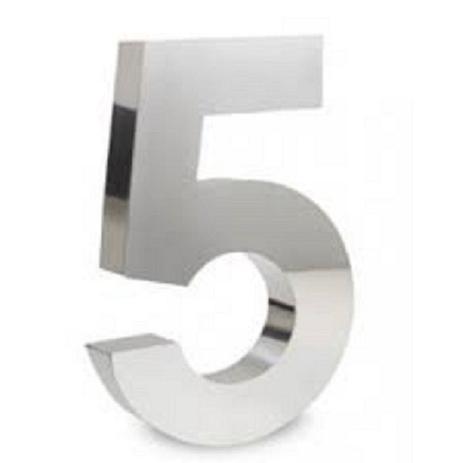 Imagem de Número 5 de Aço Inox 3d Caixa Alta Polido Brilhante Espelhado 20 cm - Número de casa