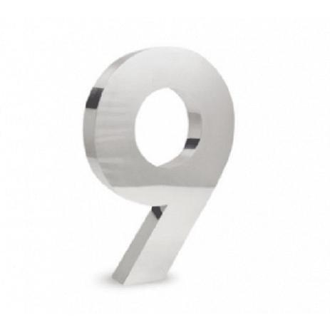 Imagem de Número 9 de Aço Inox 3d Caixa Alta Polido Brilhante Espelhado 15 cm - Número de casa