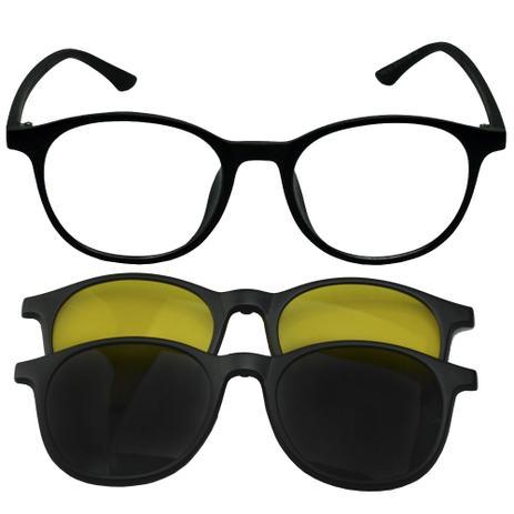 93a18e61d Oculos Armação Grau Clipon Redondo 2 Sol Lentes Preto 718 - Izaker ...
