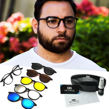 191e8fcc6 Oculos Armação Grau e Sol Clipon Redondo 5 em 1 Preto Masculino - Izaker
