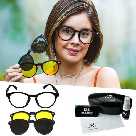 a98537610 Oculos Armação Sol Clipon Grau Preto Redondo Retro - Isabela dias ...