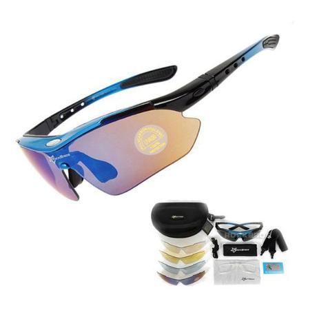 1da38c8db Óculos Ciclismo Esportes Polarizado Azul 5 Lentes Rockbros + Clip Lente De  Grau - Lei li imports
