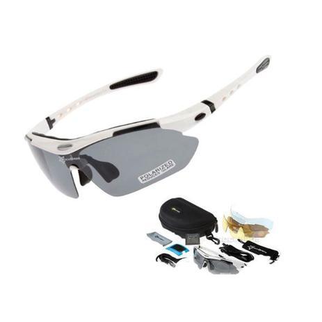 aa66a8e10 Óculos Ciclismo Esportes Polarizado Branco 5 Lentes Rockbros + Clip Lente  De Grau - Lei li imports