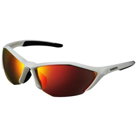 dabc8e2c13bc1 Óculos Ciclismo Shimano S61R-PL Polarizado Branco Lente Espelhada Vermelha