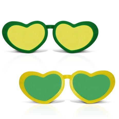 ce880895304f3 Óculos Coração Gigante Plástico com Lente Verde e Amarelo 12 unidades Brasil  - Festabox