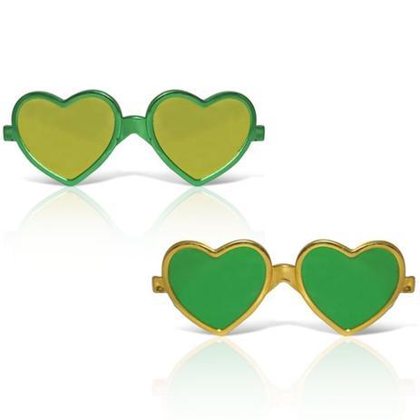 26c737de93d5d Óculos Coração Metalizado Verde e Amarelo 12 unidades Brasil - Festabox