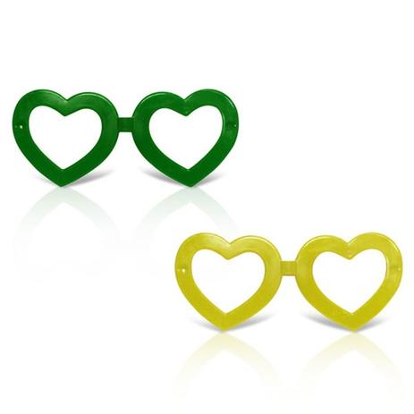 Óculos Coração Verde e Amarelo 12 unidades - Festabox - Óculos de ... f5cb07bbb9