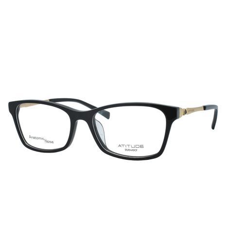 0837f23a2dc7c Óculos de Grau Atitude Feminino AT6120L A01 - Acetato Preto - Óculos ...