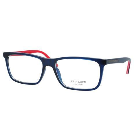 f5dac1a41 Óculos de Grau Atitude Masculino AT6199I T02 - Acetato Azul Escuro com  Vermelho