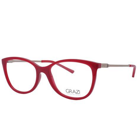 fdfd1944115c4 Óculos de Grau Grazi Feminino GZ3033 E808 - Acetato Vermelho e Metal Bronze  - Grazi massafera