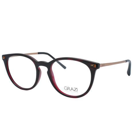 a3a75898e Menor preço em Óculos de Grau Grazi Feminino GZ3048B G027 - Acetato Bordô e  Metal Bronze