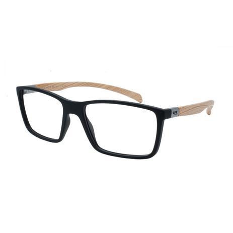 74462eaa4 Óculos de Grau HB Masculino M.93136 731 - Acetato Polytech Preto com Haste  Imitando Madeira - Hb - hot butterd