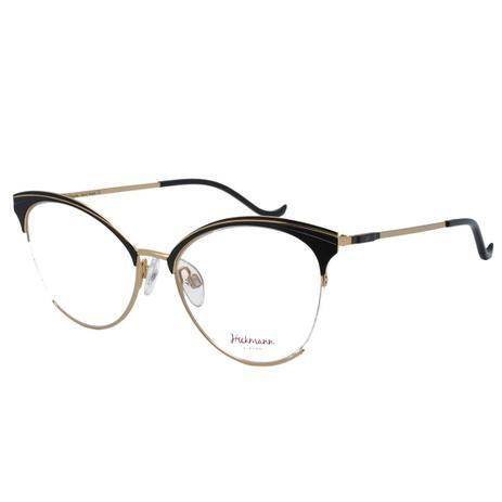 473d602f7 Óculos de Grau Hickmann Feminino HI1055 09A - Metal Preto e Dourado ...