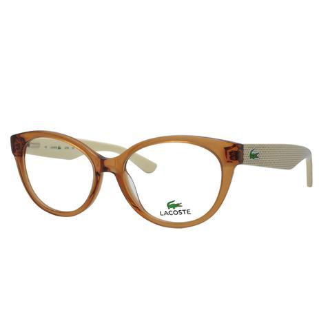 Óculos de Grau Lacoste Feminino L2708 C210 - Acetato Marrom Translucido e  Bege 614f763fe6