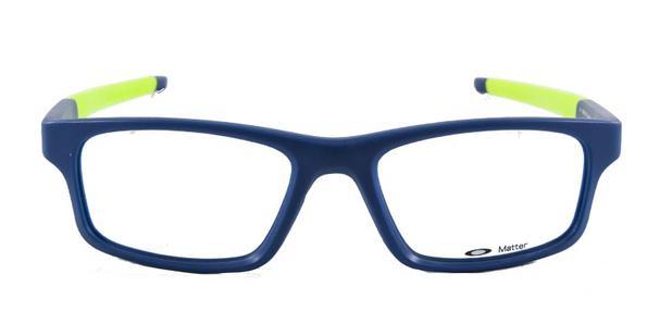19ac94f0c71c6 Óculos de Grau Oakley Crosslink OX8037 Azul Preto e Amarelo Fluorescente  Lente Tam 54