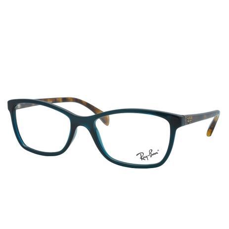 ffb961e06e04d Óculos de Grau Ray Ban Feminino RX7108L 5704 - Acetato Verde Transparência  com Tartaruga Marrom
