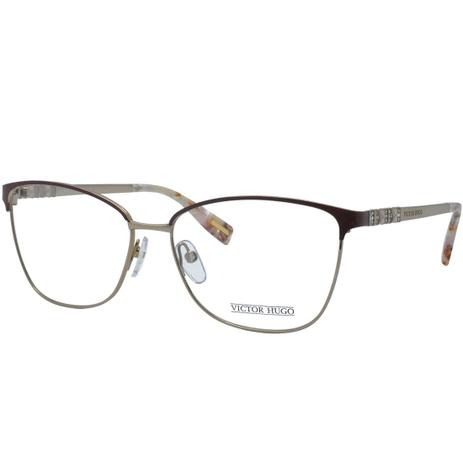 931dfc632bd3c Óculos de Grau Victor Hugo Feminino VH1263S 08MD - Metal Marrom e Dourado