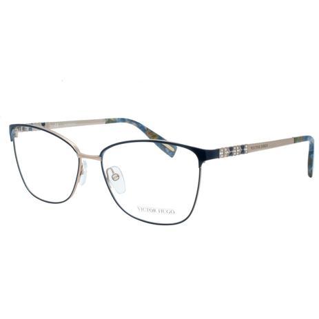9a3844c56c2ff Óculos de Grau Victor Hugo Feminino VH1263S 0E59 - Metal Azul e Bronze
