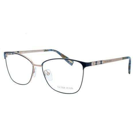 aa7267bda920b Óculos de Grau Victor Hugo Feminino VH1263S 0E59 - Metal Azul e Bronze