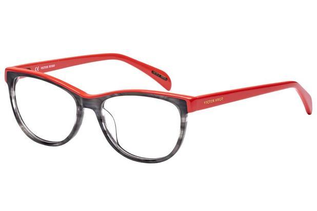 c6ed33b3430ab Óculos de Grau Victor Hugo VH1734 0AHU 52 Preto Mesclado Vermelho ...