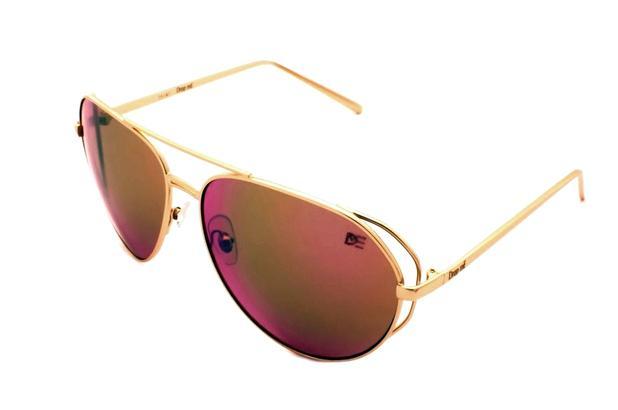 Óculos de Inverno AVIADOR GRANDE DROP ME DOURADO LENTE ESPELHADA LILAS -  Drop me acessorios 315aae0857