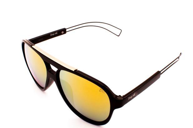 Oculos de sol aviador acetato preto espelhado amarelo unissex - Drop me  acessorios 082f89e82c