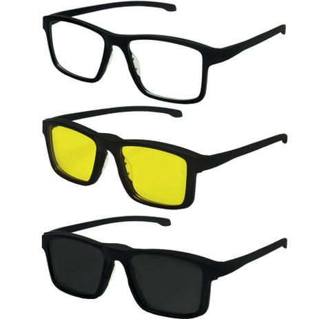 734ee07eb1962 Oculos De Sol Clipon Grau Quadrado Polarizado Preto Masculino 707 - Izaker
