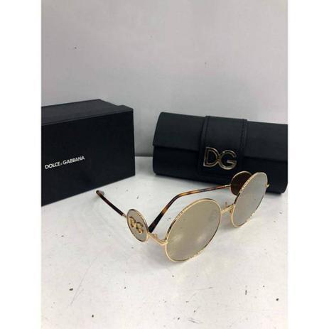 ac12eb8d4 Oculos de sol Dolce Gabbana redondo dourado espelhado - Dolce e gabbana