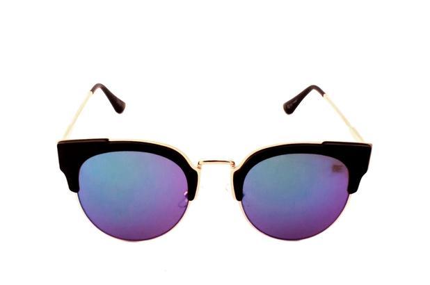 Oculos de sol drop me feminino gatinho icone preto brilho espelhado azul -  Drop me acessorios 0338e5f59d