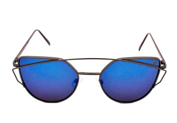 2df337029 Oculos de sol drop me las gatinho arco metal grafite espelhado azul - Drop  me acessorios